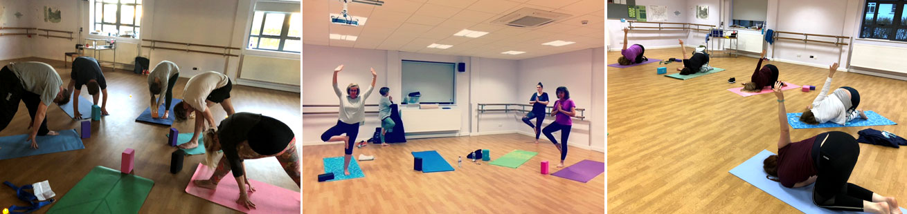 Three images of Solis Yoga Class students